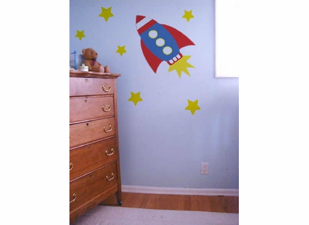 Retro Rocket Wall Mural Kit