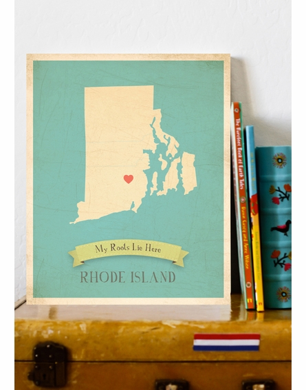 Rhode Island My Roots State Map Art Print