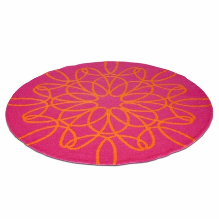 Ribbon Round Rug in Orange and Pink