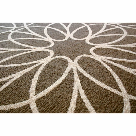 Ribbon Round Rug in White and Sable