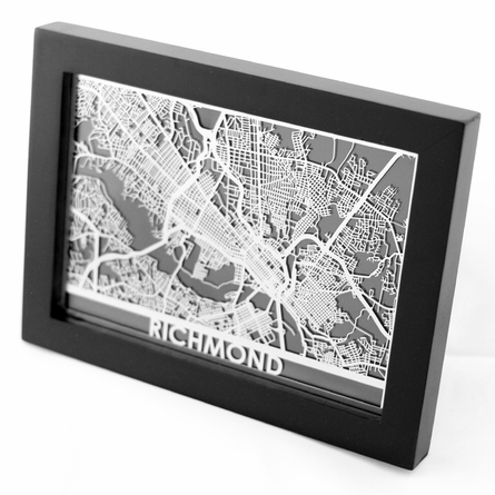 Richmond Stainless Steel Framed Map