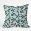 Ride A Bike Aqua Throw Pillow