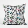 Ride A Bike White Throw Pillow