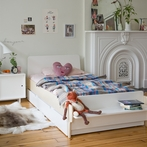 River Twin Bed in White and Birch