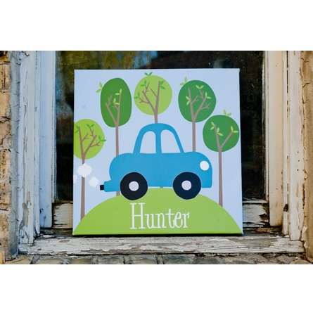 Road Trip Blue Canvas Wall Art
