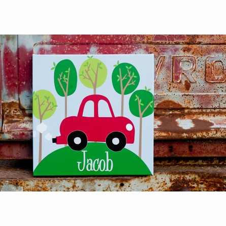 Road Trip Red Canvas Wall Art