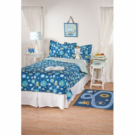 Robot Galaxy Stripe Twin Comforter and Sham Set