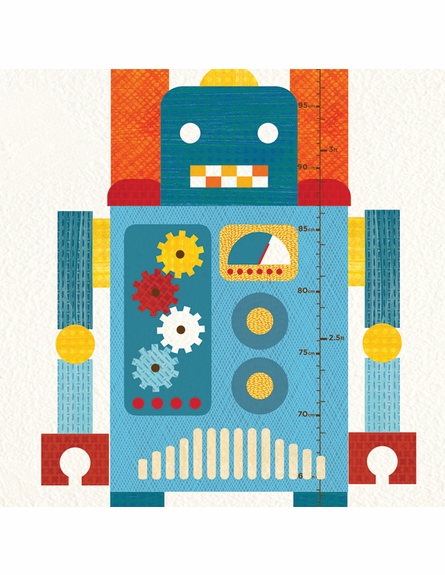 Robot Growth Chart Fabric Wall Decal