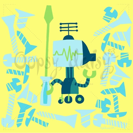 Robot Repairs Bolts Canvas Wall Art