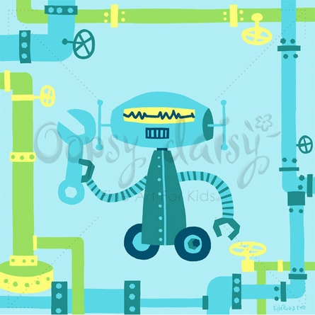 Robot Repairs Pipes Canvas Wall Art