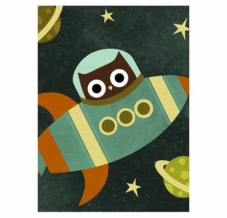Rocket Owl Canvas Reproduction