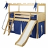 Roman Poster Bed with Navy Pennant Tent