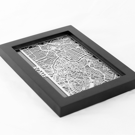 Rome Stainless Steel Framed Map