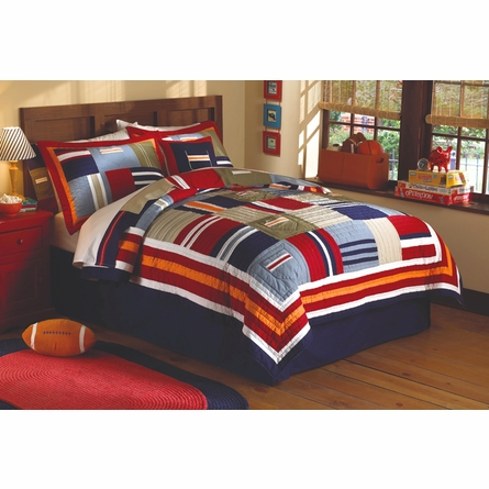 Ronnie Patchwork Prewashed Cotton Quilt with Sham