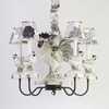 Rooster Five Arm Chandelier and Shades