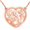 Rose Gold Heart Monogram Necklace - Script