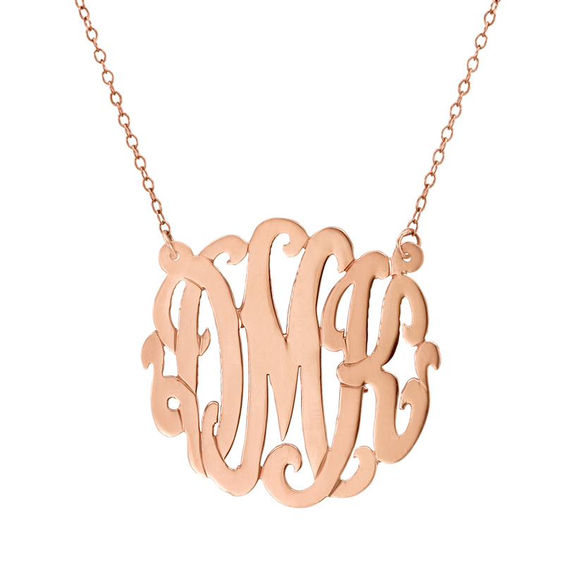 gold monogram necklace script rosenberryrooms