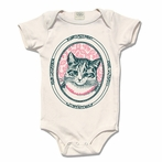 Rose Organic Cotton Framed Cat Original Print Onesie