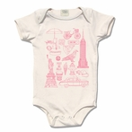 Rose Organic Cotton Framed NYC Motifs Original Print Onesie