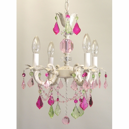 Rosenberry Four Arm Chandelier with Pink Ruffle Shades
