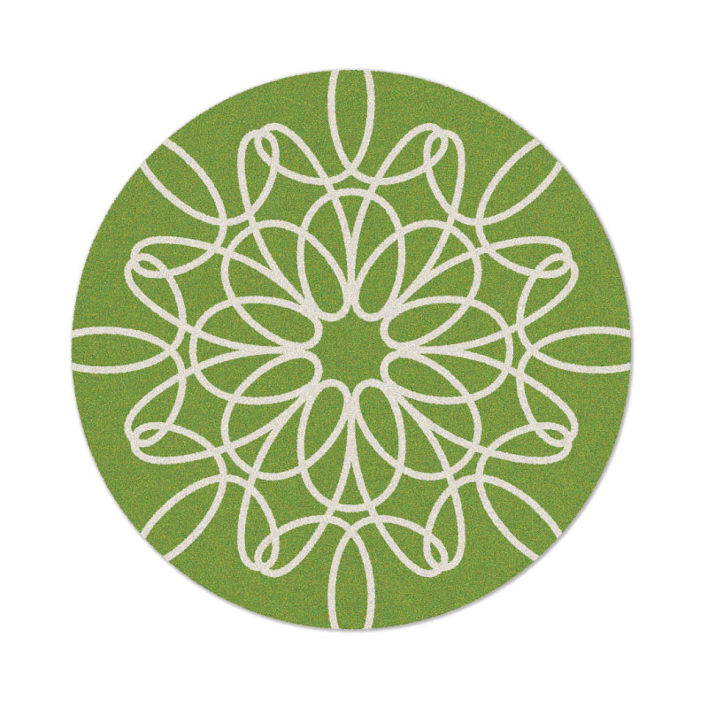 Round Ribbon Rug In Green And White By Not Neutral