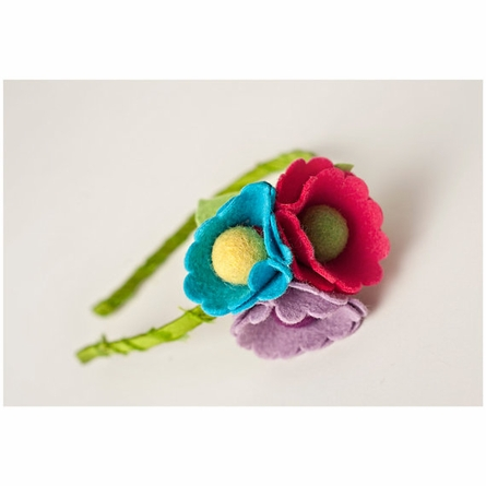 Ruby Dot Poppies Felt Headband