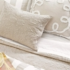 Ruched Linen Platinum and White Euro Sham