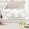 Ruched Linen Platinum and White Standard Sham