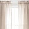 Ruched Linen Platinum and White Window Panel