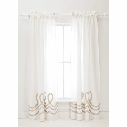 Ruched Linen White and Platinum Window Panel