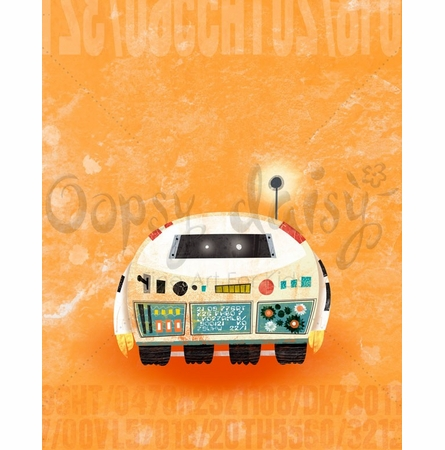 Rumbling Robots Scoot Canvas Wall Art