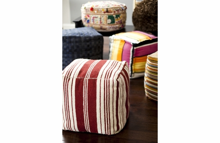 Rustic Stripe Pouf in Red and Cream