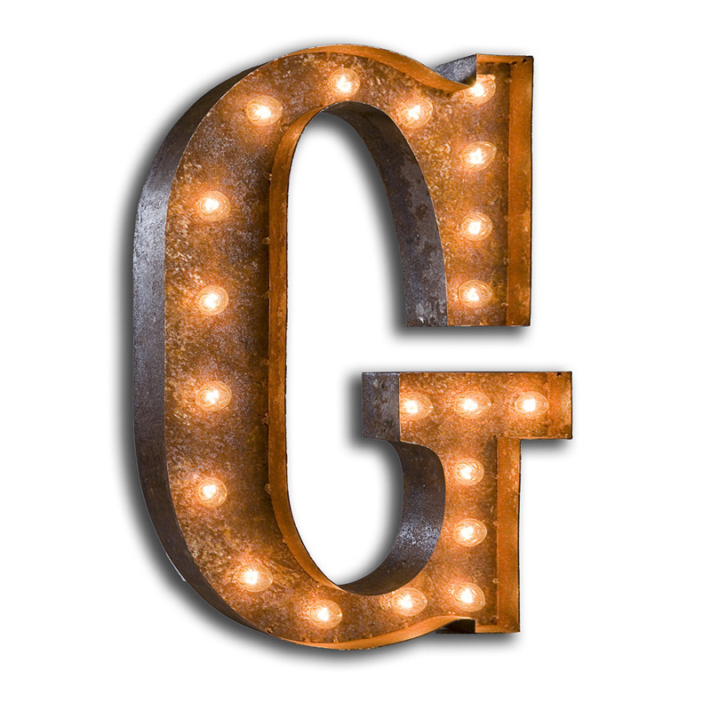 Rusty 24 Inch Letter G Marquee Light By Vintage Marquee Lights