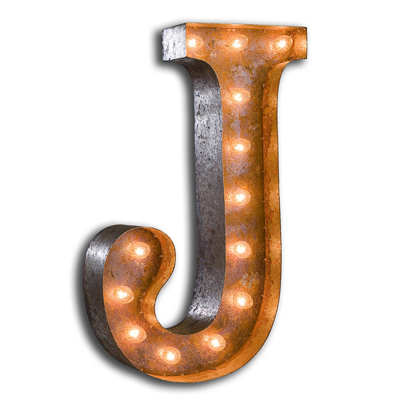 Rusty 24 Inch Letter J Marquee Light By Vintage Marquee Lights