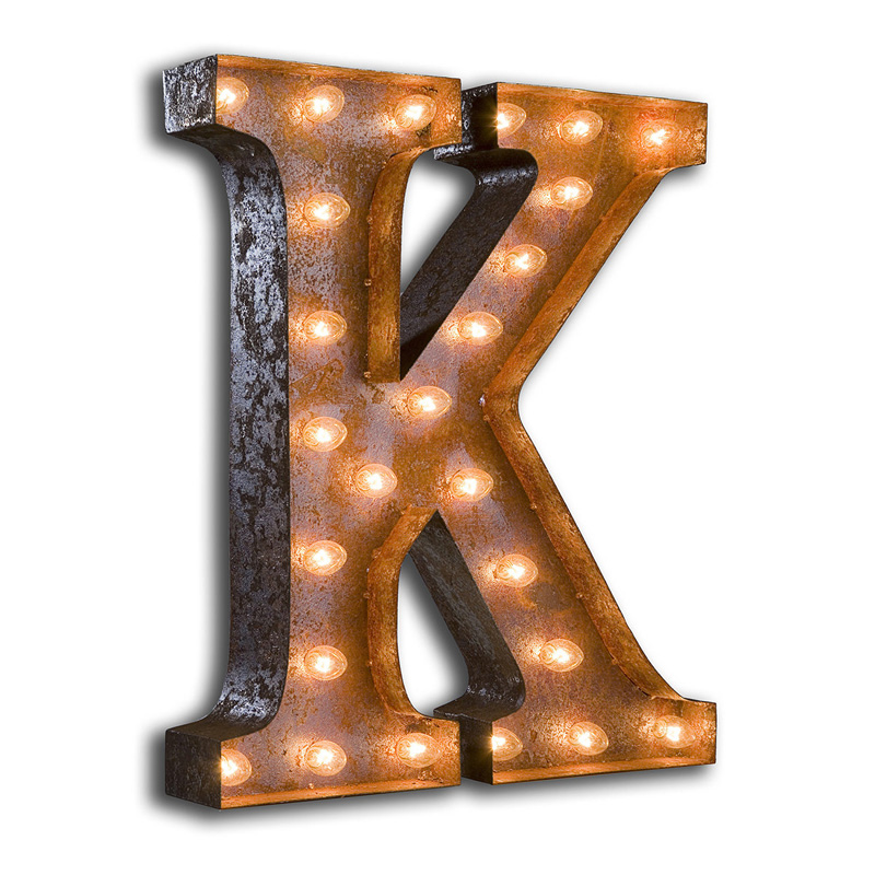 Rusty 24 Inch Letter K Marquee Light by Vintage Marquee Lights