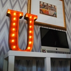 Rusty 24 Inch Letter U Marquee Light