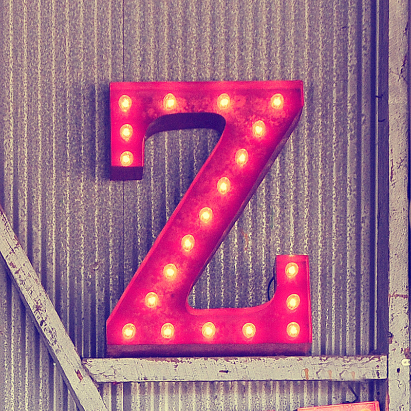 Rusty 24 Inch Letter Z Marquee Light By Vintage Marquee Lights