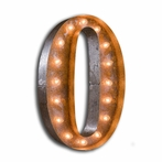 Rusty 24 Inch Number 0 Marquee Light