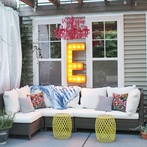 Rusty 36 Inch Letter E Marquee Light