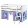 Ryan Low Loft Bed with Blue and Purple Tent