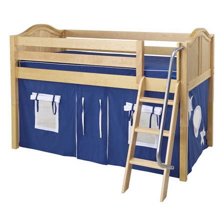 Ryan Low Loft Bed with Blue and Red Tent