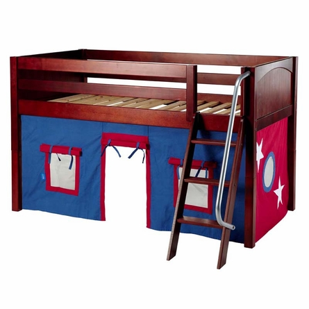 Ryan Low Loft Bed with Blue and White Tent