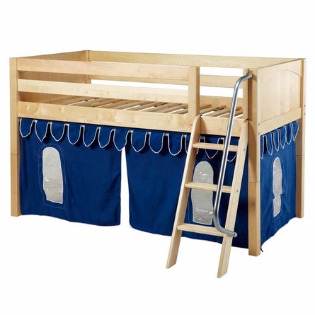Ryan Low Loft Bed with Blue Pennant Tent