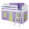 Ryan Low Loft Bed with Green and Purple Tent