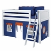 Ryan Low Loft Bed with Navy and Orange Tent
