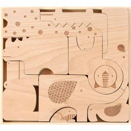 Safari Jumble Wooden Puzzle and Block Set