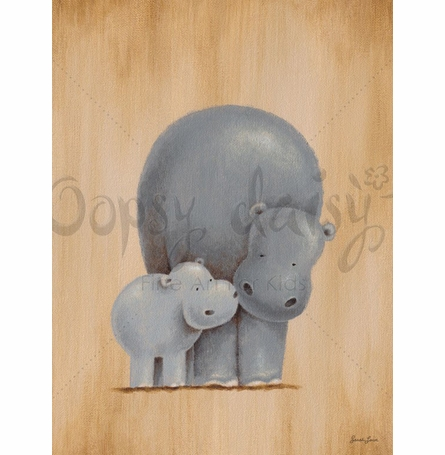 Safari Kisses - Hippos Canvas Wall Art