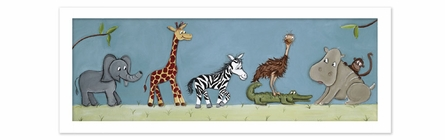 Safari Parade Canvas Reproduction