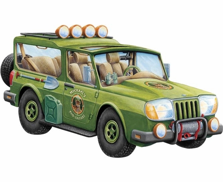 Safari Wagon Personalized Peel and Stick Wall Mural