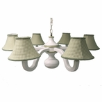 Sage Gingham Six Arm Spindle Chandelier